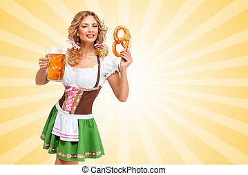 Beer and snack. - Beautiful sexy Oktoberfest woman wearing a...