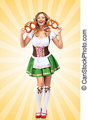 Bavarian laugh. - Beautiful sexy Oktoberfest woman wearing a...