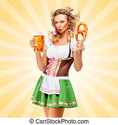 Emotions and Oktoberfest - Offended sexy Oktoberfest woman...