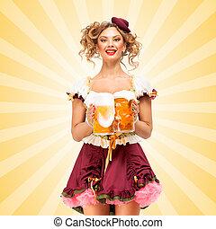 Tasty and sexy - Beautiful sexy Oktoberfest waitress,...