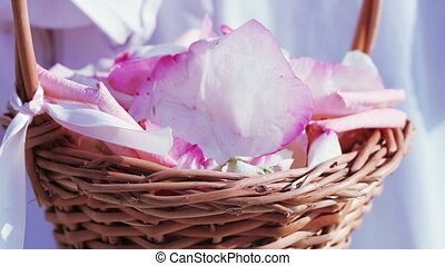 Basket with rose petals - Wooden basket with rose petals for...