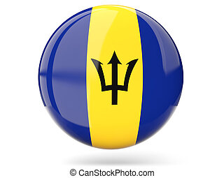 Round icon with flag of barbados