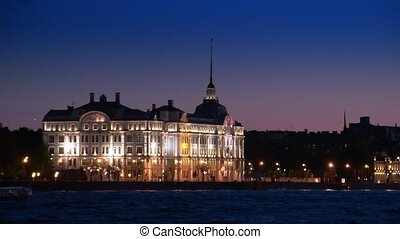 Dvortsovaya embankment at night. Saint Petersburg. Russia