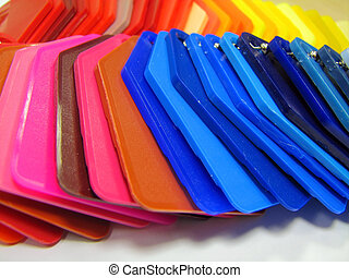plastic color samples , pink red blue yellow