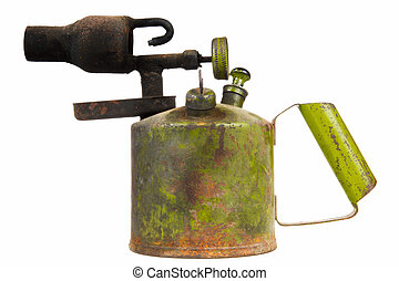 Old Kerosene Blowtorch Isolated on White Background - An old...