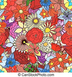 Beautiful summer ornate from many flowers, seamless pattern...