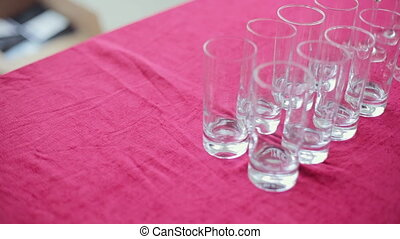 Empty wine and water glasses at a banquet - Empty wine and...