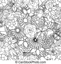 Floral seamless pattern background with leaves. Doodles...