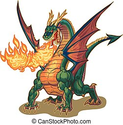 Muscular Dragon Breathing Fire Vect - Vector cartoon clip...