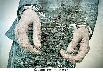 double exposure of a handcuffed man and tract housing...