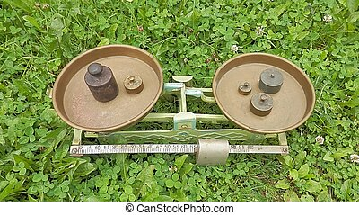 Weight balance measurement tool of history. - Scales and...