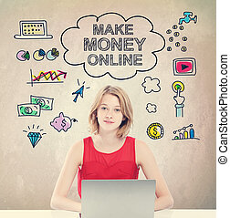 Make Money Online concept with young woman with laptop -...