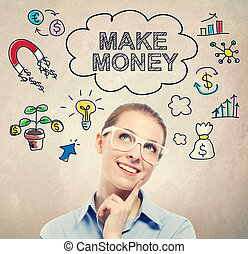 Make Money idea sketch with young business woman wearing...