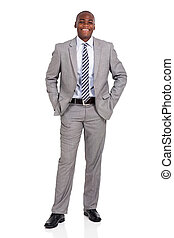young african american businessman standing on white...