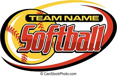 softball design - softball team design with ball and swish...