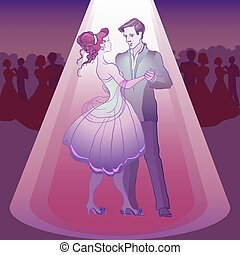 Couple dancing waltz in the party  in the light