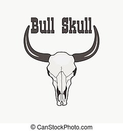 black and white Cow Skull Logo - black and white Cow Skull...