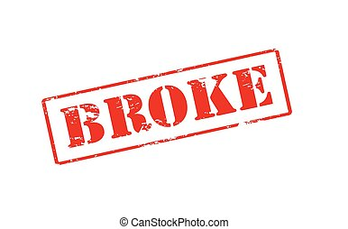 Broke - Rubber stamp with word broke inside, vector...