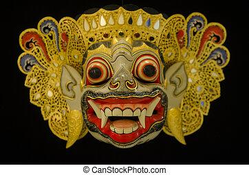 de madera, barong, máscara, De, Tegallalang, en,...