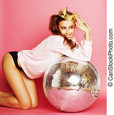 young cute party girl like barbie on pink background with...