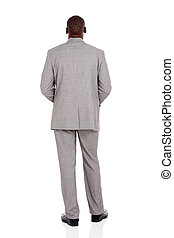 rear view of african businessman isolated on white...
