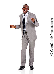 young african businessman dancing - excited young african...