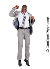 young african american businessman jumping - excited young...
