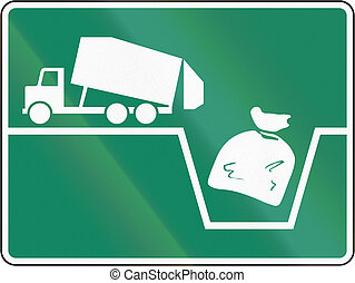 Waste Dump in Canada - Guide and information road sign in...