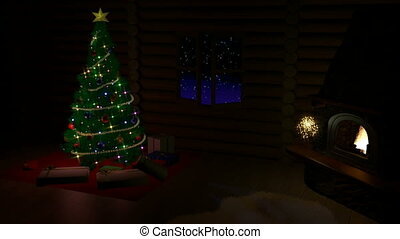 Christmas tree, gift boxes and fireplace