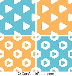 Play button pattern set, colored