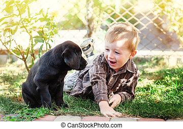 CÙte, Mały, jego,  labrador, Chłopiec, Aparat fotograficzny, uśmiechanie się, szczeniak, klęczący