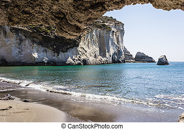 Gerontas beach at Milos island, Cyclades, Greece - Gerontas...