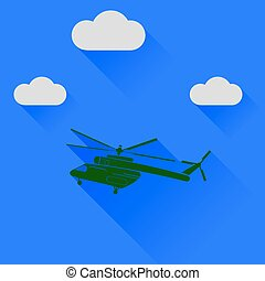 Green Helicopter Silhouette