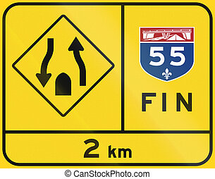End Of Quebec Highway And Divided Road - Warning road sign...