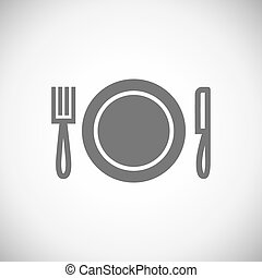 Knife, plate, fork