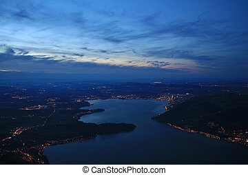 Lake Zugersee by night - View from the Rigi towards lake...