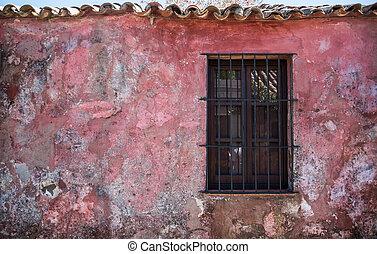 viejo, rústico, ventana, Viajar, Colonia, Uruguay.,...