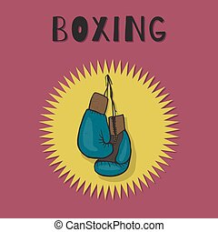 Boxing gloves blue color. Boxing vector emblem.