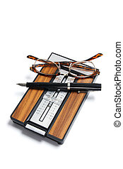 Phone Index Organizer with Pen and Eyeglasses