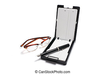 Phone Index Organizer with Pen and Eyeglasses on White...