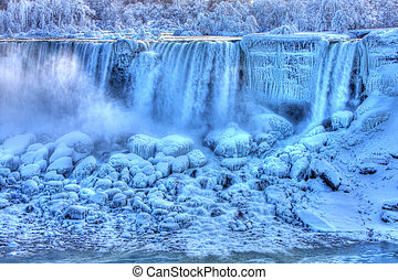 Frozen American Falls in Winter - American Falls in Winter...