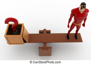3d superhero with question mark and standing on seesaw for balance concept