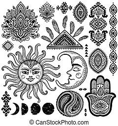 Sun, moon and ornaments vintage vector set