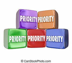 Priority Blocks Cubes Boxes Most Important Urgent Jobs Tasks...