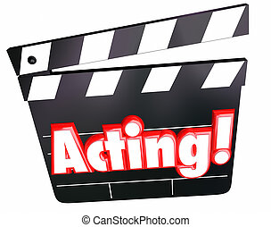 Acting Word Movie Film Cinema Clapper Board Performing Drama...