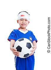 cabeça, futebol, isolado, trauma, Asiático, segurando,...