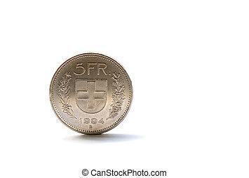 único, cinco, Suíço, franco, moeda, isolado, branca, fundo