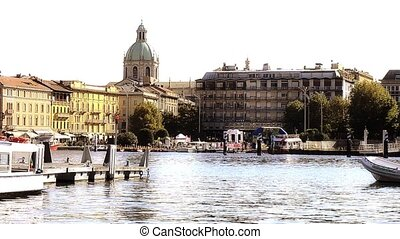 como, harbor and cathedral - Italy, Lake Como. Como...
