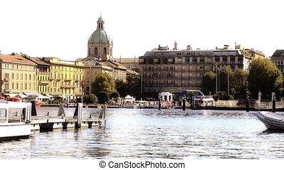como, harbor and cathedral - Italy, Lake Como. Como...