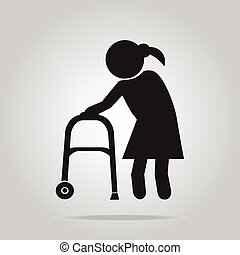 Elderly woman and walker symbol, icon vector illustration